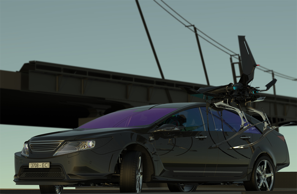 car and drone